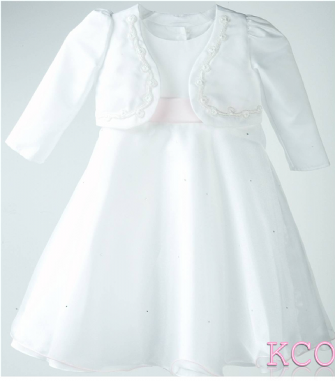 Braid Jacket Dress White/Pink ~ girls dress